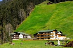 large hotel building in the green mountain valley near forest