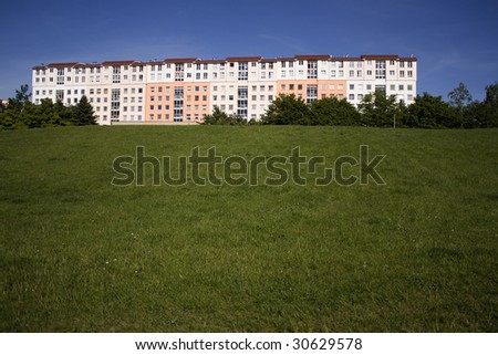 Large house on a hill - green field development