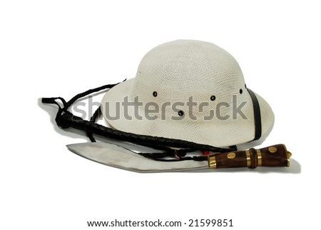 Large hunting knife made of metal and wood, Pith helmet worn during explorations to protect the head from sun stroke, whip made of leather