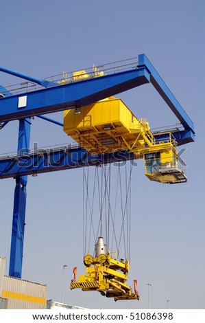 Large industrial crane for cargo containers in port