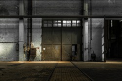 Large industrial door in a factory