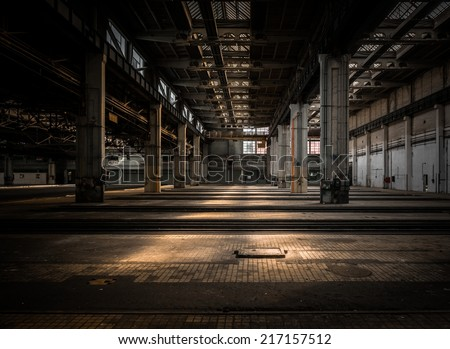 Large industrial hall of a vehicle repair station stock photo