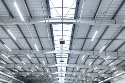 large industrial hall - transport warehouse - modern LED lighting