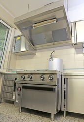 large industrial kitchen for preparing food for many people