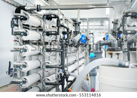 Large industrial water treatment and boiler room. reverse osmosis plant, RO