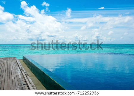 Large infinity pool on the shores of the Indian Ocean with sunbeds and umbrellas in the shade of the palm trees #712252936