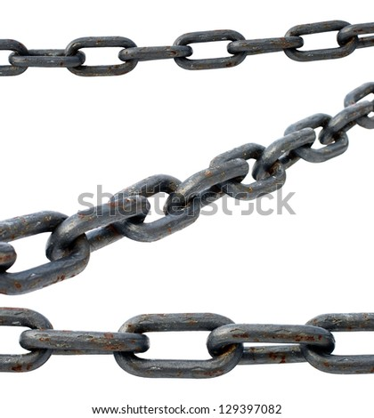 large iron chain isolated on white background