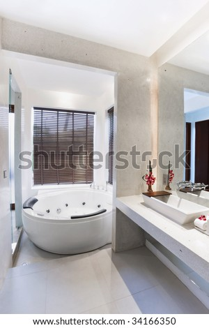 large jacuzzi in bathroom