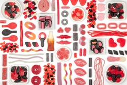 large jelly candy selection on white background