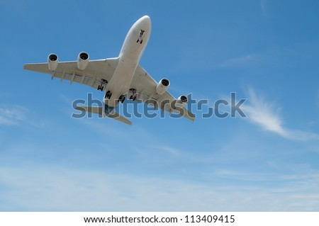 large jet aircraft on landing approach in a blue cloudy sky