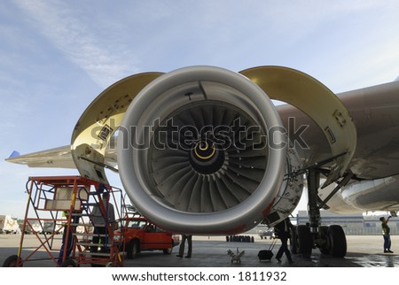 large jet-engine, turbine being serviced