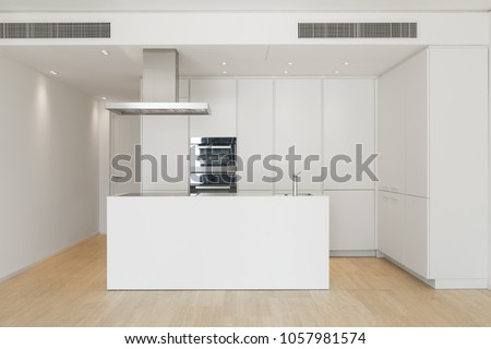 Large kitchen with island of a luxurious apartment. White furniture