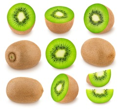Large kiwi set with different elements isolated on a white background.