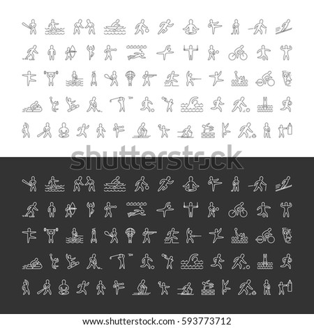 Large line set of sports icons. Linear symbol of sportsmen. Pictogram summer and winter sports.