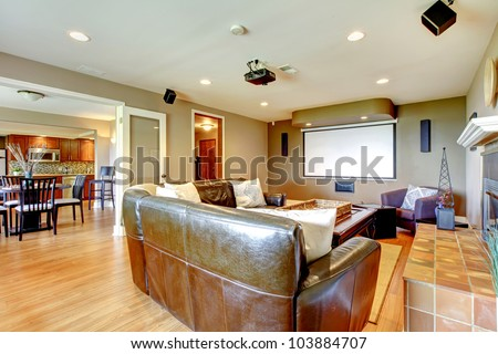 Large Living Room With Brown Walls And Leather Sofa With Projector ...