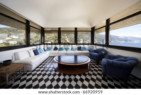 large living room with white...