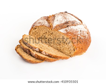 Large loaf of bread isolated on white #410935501