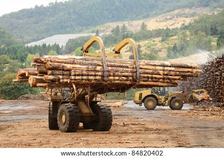 Large log loader and operations in the log yard at a conifer log mill near Roseburg Oregon