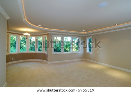 large luxurious unfurnished room with lots of upgrade