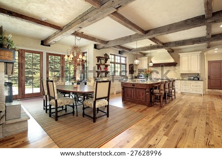 Large luxury rustic kitchen