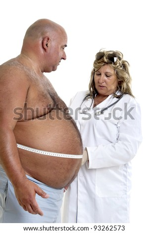 Large male patient with big belly and doctor