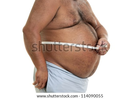 Large man belly with measuring tape isolated in white