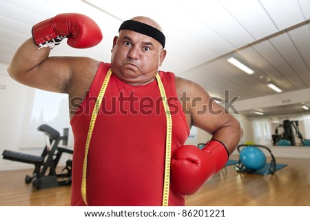 Large man with boxing gloves