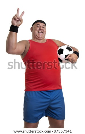 Large man with soccer ball isolated in white