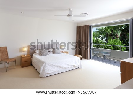 Master Bedroom Bedding on Large Master Bedroom With King Size Bed And Balcony Stock Photo