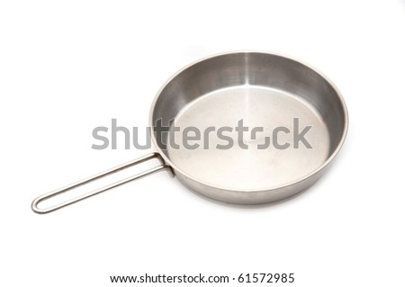 Large metal frying pan, image is taken over a white background