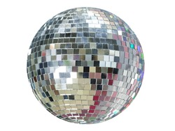 Large mirror ball with multi-colored reflections isolated on a white background.
