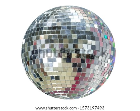 Photo of  Large mirror ball with multi-colored reflections isolated on a white background.
