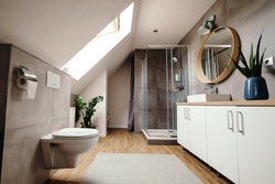 Large modern bathroom with luxury fittings. Modern bathroom interior. Bathroom with walk in shower. Stylish luxury urban restroom interior. Glass door shower and white cabinet with mirror.