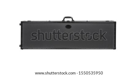 Large modern black case for storing and transporting weapons. Suitcase on wheels with soft foam inside for safe transportation of weapons. Metal container for shotguns, rifles and shotguns.
