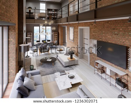 Large modern loft-style apartment with sofas, armchair, fireplace, brick wall, dining table. 3d rendering