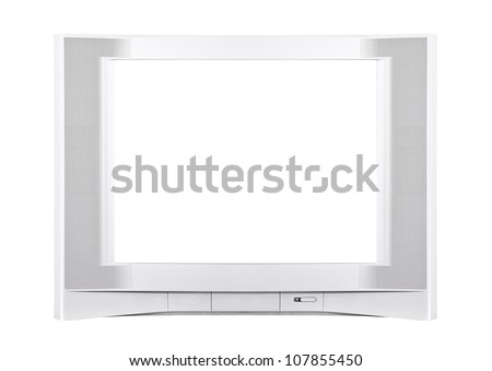 Large modern silver television isolated with clipping path.