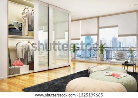 Large modern wardrobe in the modern house. 3d rendering
