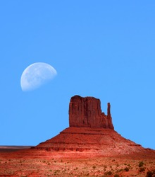 Large moon over Monument Valley Arizona