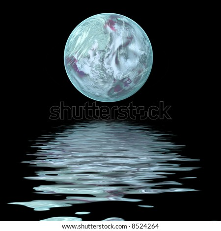 large moon reflecting over smooth waves on water