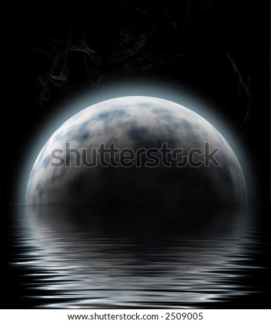 large moon reflecting over smooth waves on water blurred stars on black outer space nice web background