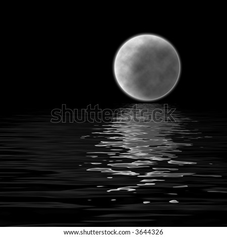 large moon reflecting over smooth waves on water  on black outer space nice web background