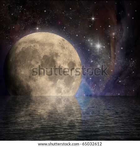 Large Moon with Reflection in Water and Stars in  Night Sky