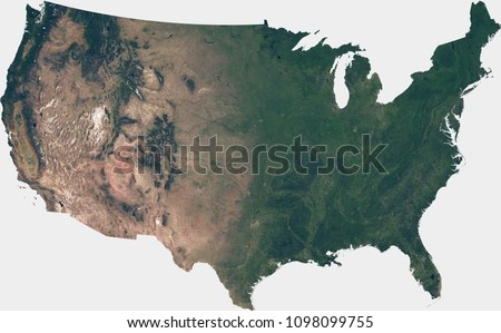 Large (120 MP) satellite image of the United States. Country photo from space. Isolated imagery of the USA. Elements of this image furnished by NASA.