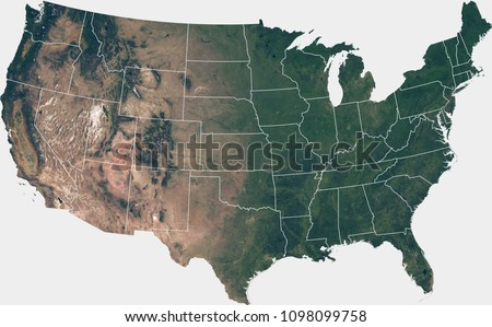 Large (120 MP) satellite image of the United States with internal (states) borders. Country photo from space. Isolated imagery of the USA. Elements of this image furnished by NASA.