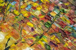 Large multicolored strokes with a hard brush Oil Paint close up. On a linen canvas a large grain.Autumn color palette. Impressionism Style. Flat Lay.