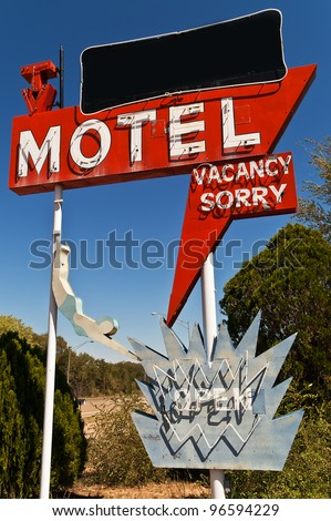 Large neon retro motel sign on Route 66