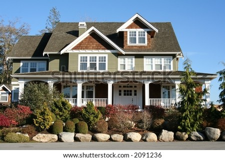 Large new beautiful house. - stock photo