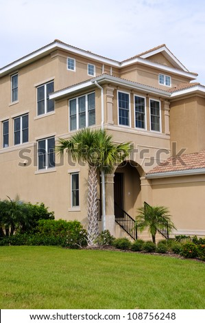 Large New Luxury Beach House - stock photo