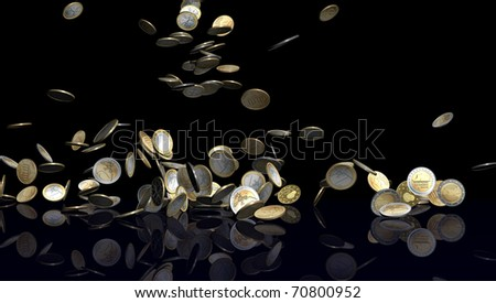 Large number of Euro coins falling on black reflective floor. Coins are from various Euro countries like Germany, Greece, Belgium, Netherlands, Finland, France and Italy.