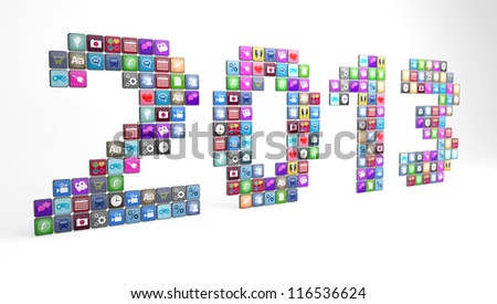 Large number of smartphone app icons displaying the year 2013.  Note to reviewer:  icon graphics are designed by the contributor.